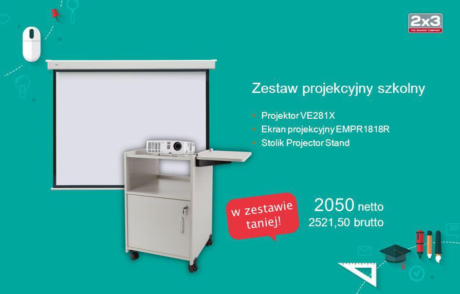 typ: DLP (3D Ready) jasność: 2800 ANSI lm rozdzielczość: XGA (1024×768) kontrast: 3000:1 odległość proj.: 1,18–13,2 m Projektor VE281X 1300 netto 1599 brutto