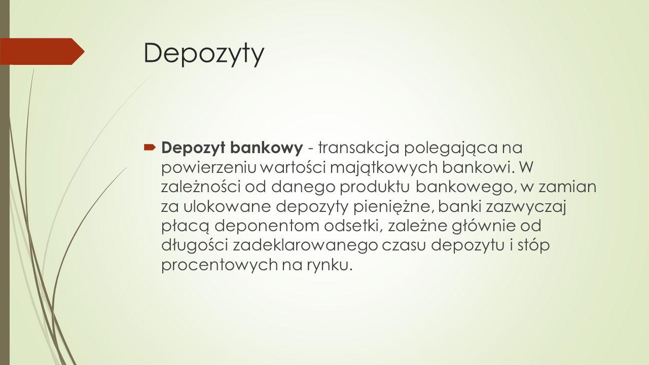 Depozyt bankowy - transakcja polegająca na powierzeniu wartości majątkowych bankowi.