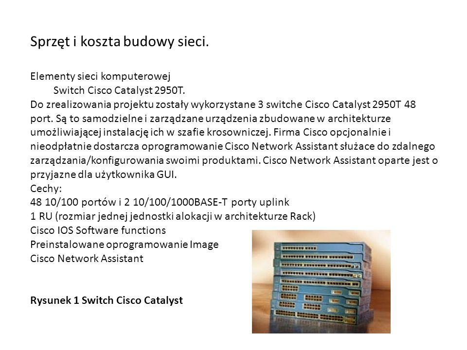 Sprzęt i koszta budowy sieci. Elementy sieci komputerowej Switch Cisco Catalyst 2950T. Do zrealizowania projektu zostały wykorzystane 3 switche Cisco