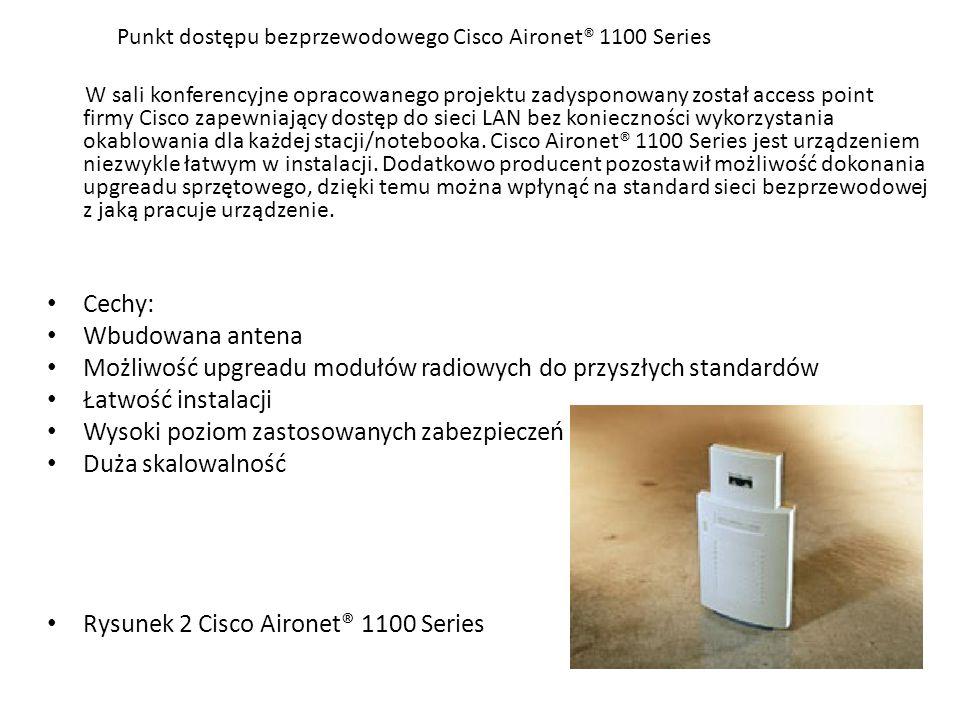 Punkt dostępu bezprzewodowego Cisco Aironet® 1100 Series W sali konferencyjne opracowanego projektu zadysponowany został access point firmy Cisco zape