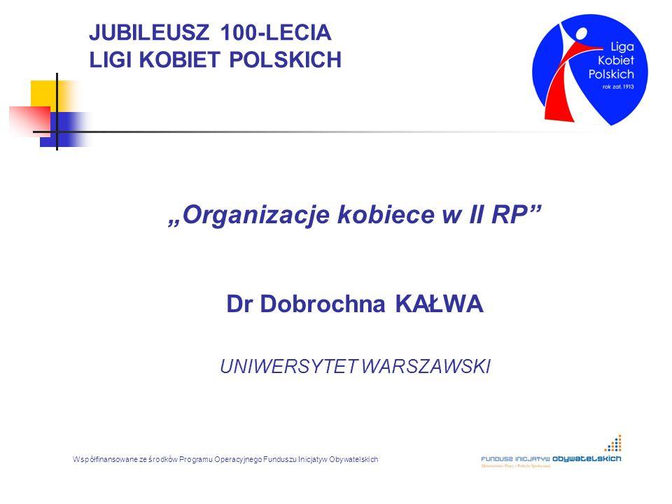 """JUBILEUSZ 100-LECIA LIGI KOBIET POLSKICH """"Organizacje kobiece w II RP"""" Dr Dobrochna KAŁWA UNIWERSYTET WARSZAWSKI Współfinansowane ze środków Programu"""