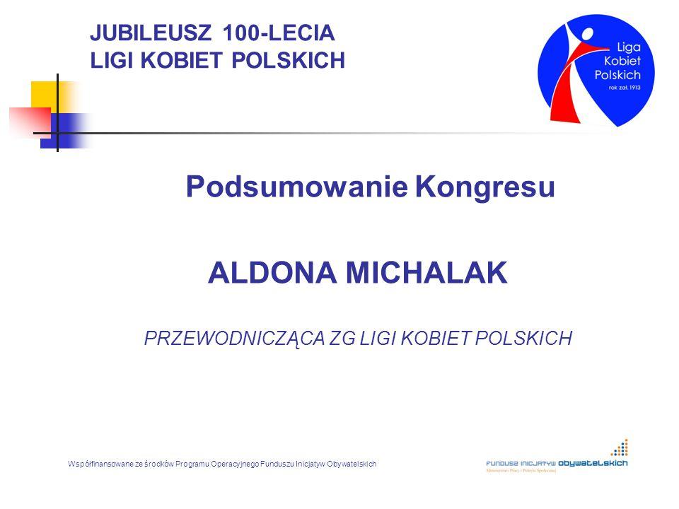 JUBILEUSZ 100-LECIA LIGI KOBIET POLSKICH Podsumowanie Kongresu ALDONA MICHALAK PRZEWODNICZĄCA ZG LIGI KOBIET POLSKICH Współfinansowane ze środków Prog