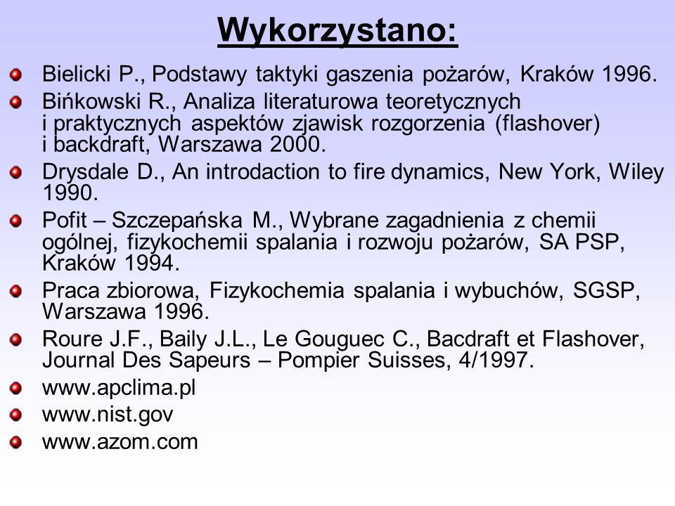 Wykorzystano: Bielicki P., Podstawy taktyki gaszenia pożarów, Kraków 1996. Bińkowski R., Analiza literaturowa teoretycznych i praktycznych aspektów zj