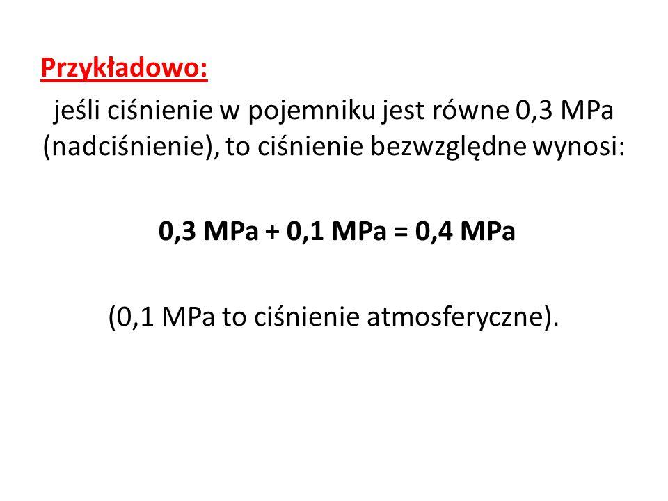 Przykładowo: jeśli ciśnienie w pojemniku jest równe 0,3 MPa (nadciśnienie), to ciśnienie bezwzględne wynosi: 0,3 MPa + 0,1 MPa = 0,4 MPa (0,1 MPa to c