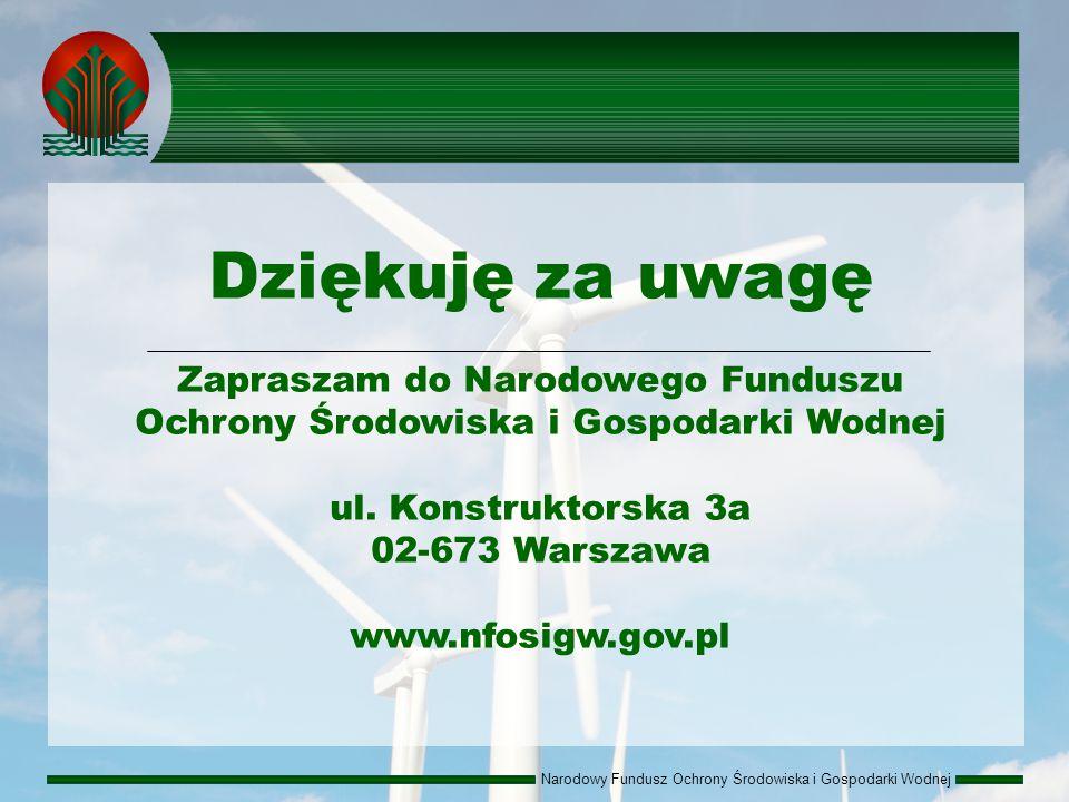 Narodowy Fundusz Ochrony Środowiska i Gospodarki Wodnej Dziękuję za uwagę Zapraszam do Narodowego Funduszu Ochrony Środowiska i Gospodarki Wodnej ul.