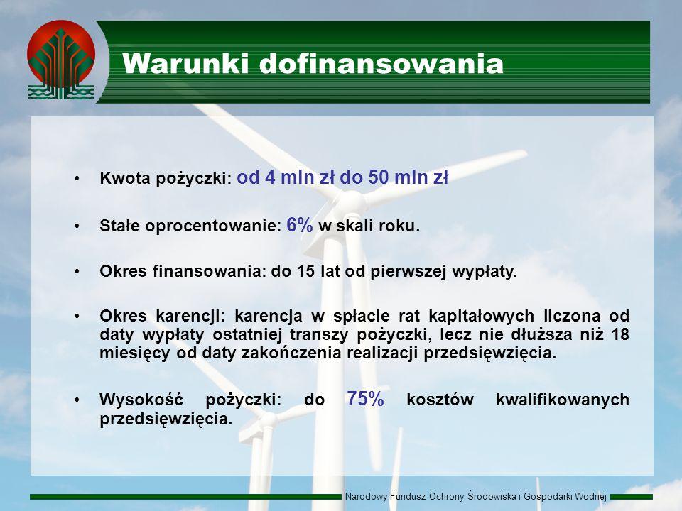 Narodowy Fundusz Ochrony Środowiska i Gospodarki Wodnej Warunki dofinansowania Kwota pożyczki: od 4 mln zł do 50 mln zł Stałe oprocentowanie: 6% w skali roku.