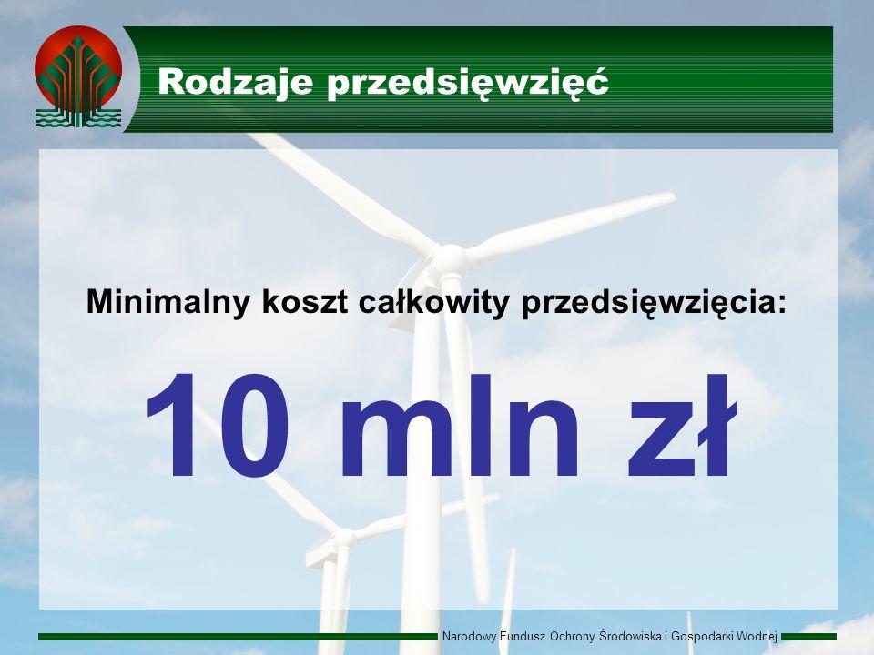 Narodowy Fundusz Ochrony Środowiska i Gospodarki Wodnej Rodzaje przedsięwzięć Minimalny koszt całkowity przedsięwzięcia: 10 mln zł