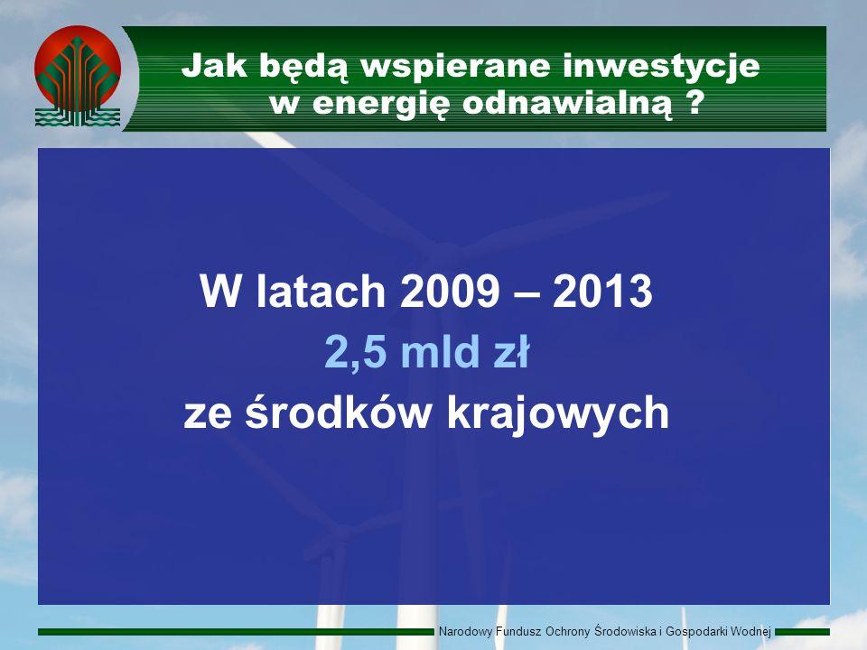 Narodowy Fundusz Ochrony Środowiska i Gospodarki Wodnej W latach 2009 – 2013 2,5 mld zł ze środków krajowych Jak będą wspierane inwestycje w energię odnawialną