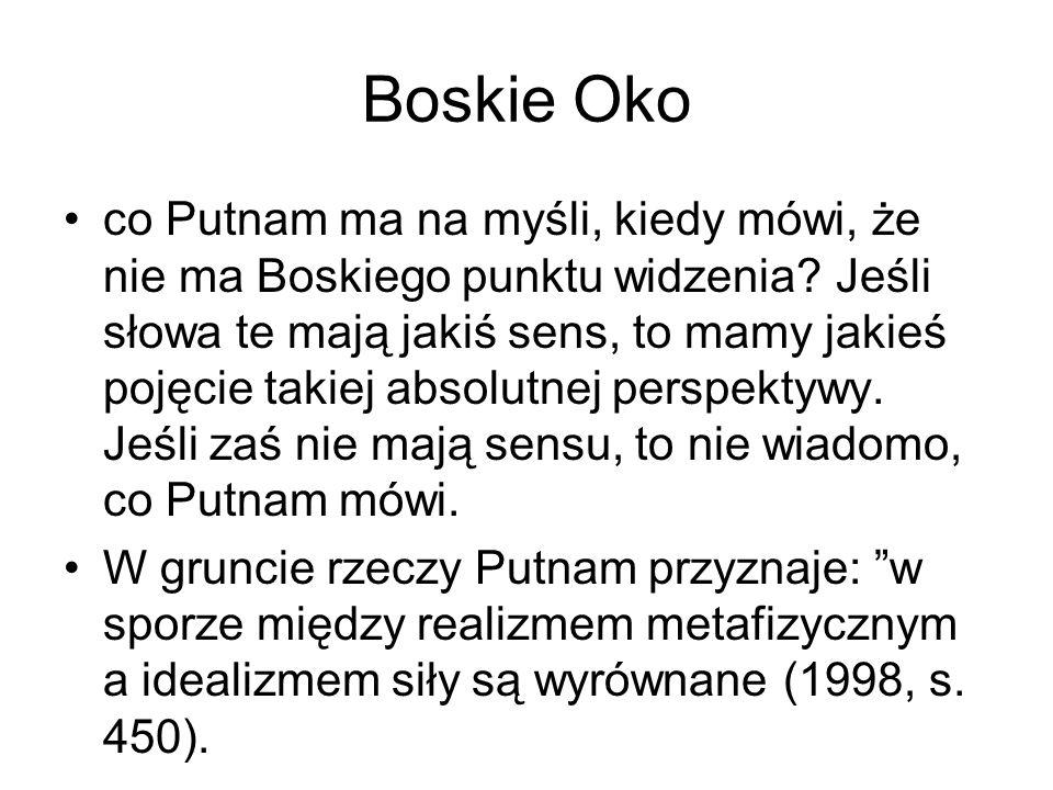 Boskie Oko co Putnam ma na myśli, kiedy mówi, że nie ma Boskiego punktu widzenia.