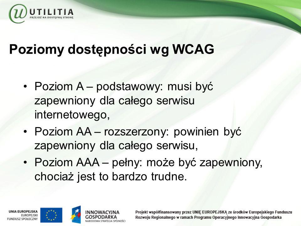 Poziomy dostępności wg WCAG Poziom A – podstawowy: musi być zapewniony dla całego serwisu internetowego, Poziom AA – rozszerzony: powinien być zapewniony dla całego serwisu, Poziom AAA – pełny: może być zapewniony, chociaż jest to bardzo trudne.