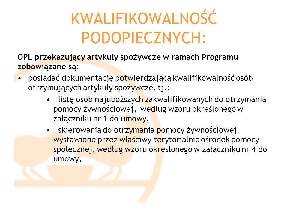 KWALIFIKOWALNOŚĆ PODOPIECZNYCH: OPL przekazujący artykuły spożywcze w ramach Programu zobowiązane są: posiadać dokumentację potwierdzającą kwalifikowa
