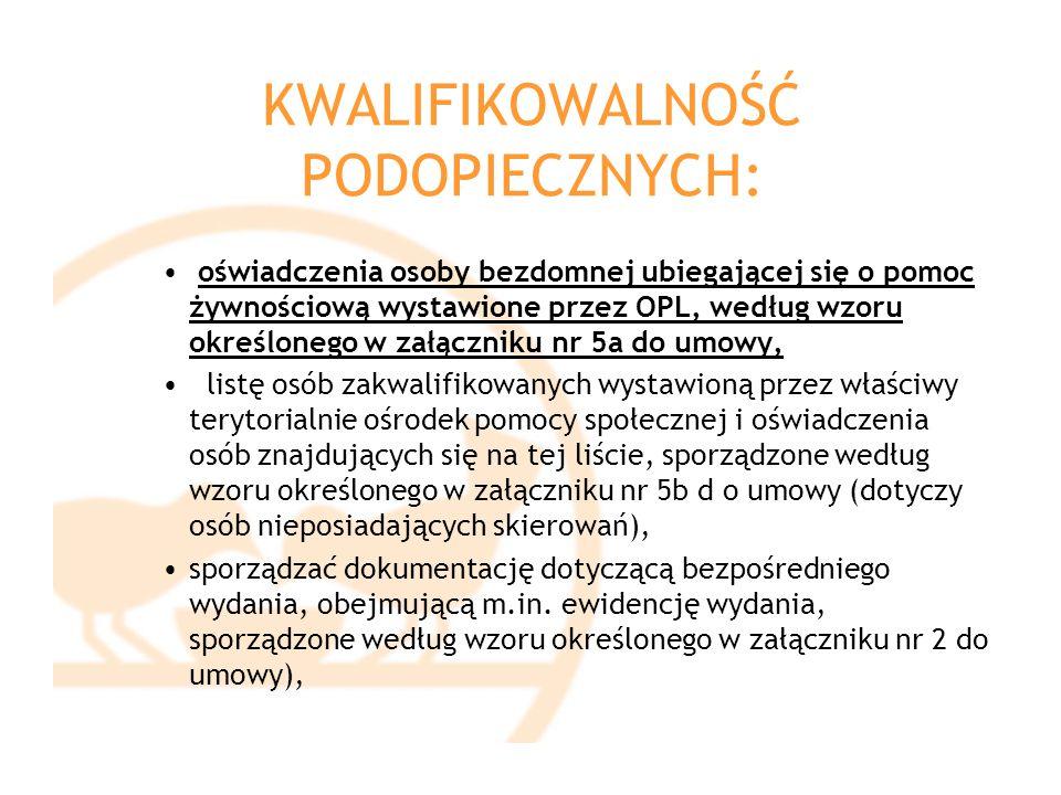 KWALIFIKOWALNOŚĆ PODOPIECZNYCH: oświadczenia osoby bezdomnej ubiegającej się o pomoc żywnościową wystawione przez OPL, według wzoru określonego w załą