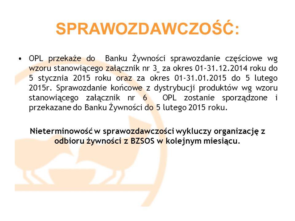 SPRAWOZDAWCZOŚĆ: OPL przekaże do Banku Żywności sprawozdanie częściowe wg wzoru stanowiącego załącznik nr 3 za okres 01-31.12.2014 roku do 5 stycznia