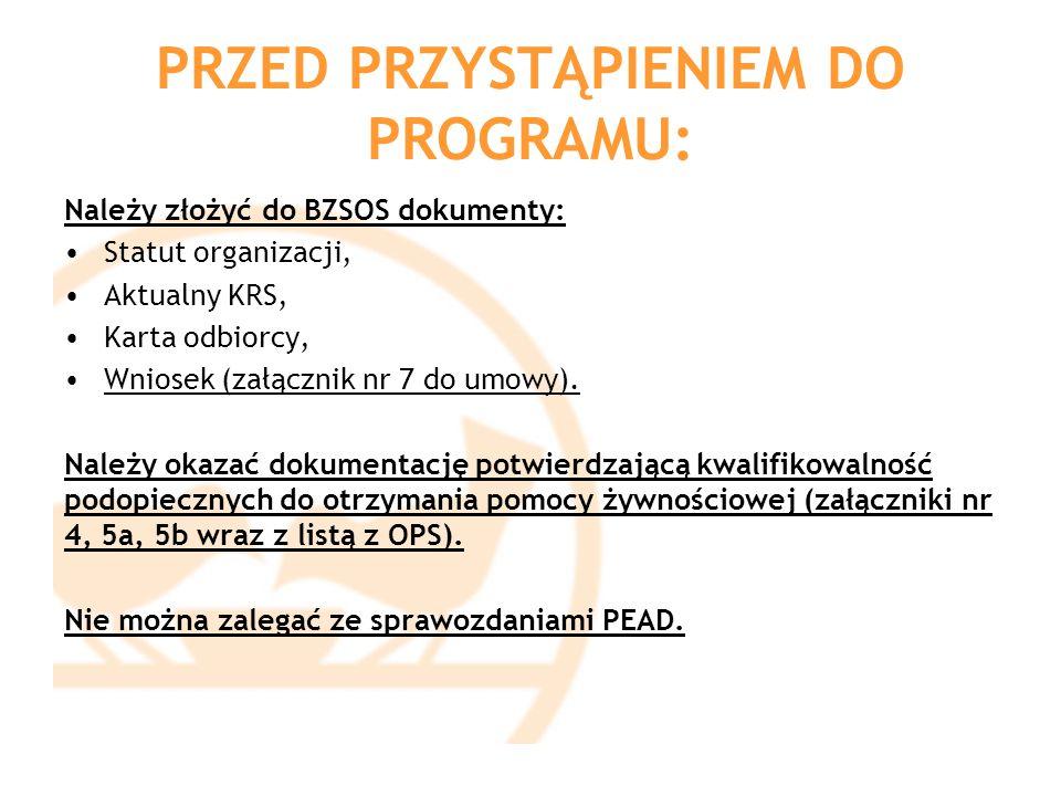 PRZED PRZYSTĄPIENIEM DO PROGRAMU: Należy złożyć do BZSOS dokumenty: Statut organizacji, Aktualny KRS, Karta odbiorcy, Wniosek (załącznik nr 7 do umowy