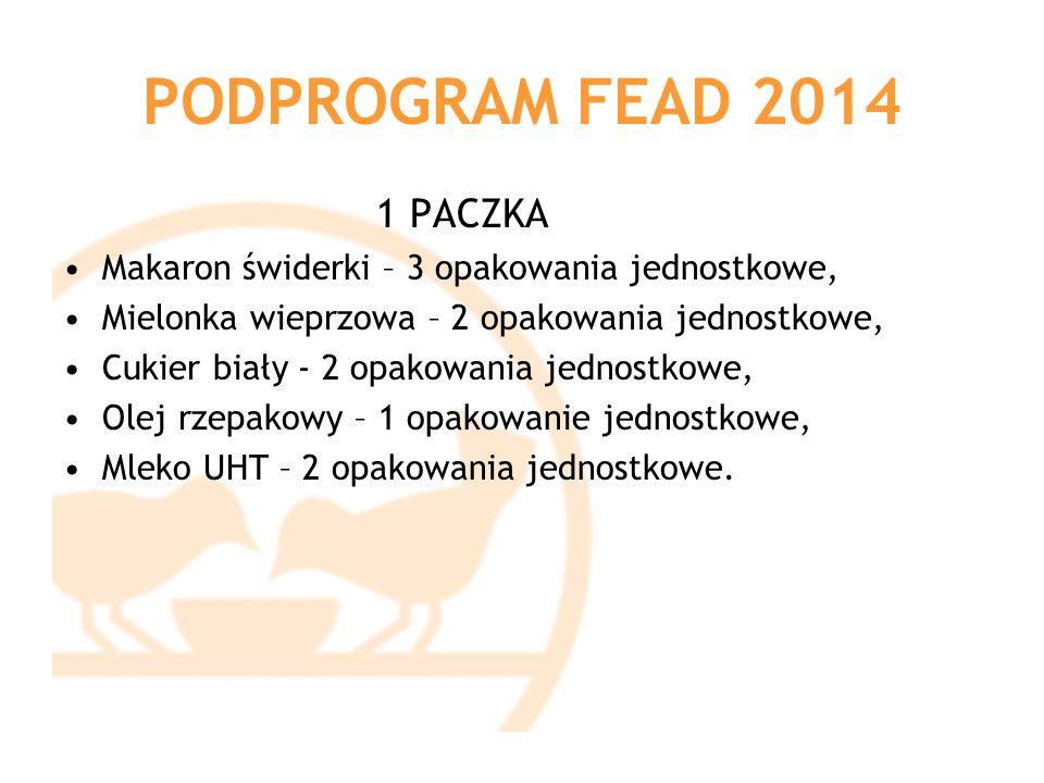 PODPROGRAM FEAD 2014 1 PACZKA Makaron świderki – 3 opakowania jednostkowe, Mielonka wieprzowa – 2 opakowania jednostkowe, Cukier biały - 2 opakowania