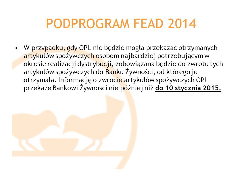 PODPROGRAM FEAD 2014 W przypadku, gdy OPL nie będzie mogła przekazać otrzymanych artykułów spożywczych osobom najbardziej potrzebującym w okresie real