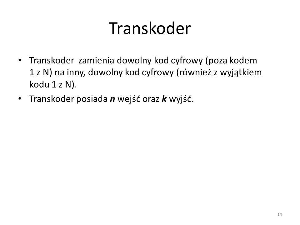 Transkoder Transkoder zamienia dowolny kod cyfrowy (poza kodem 1 z N) na inny, dowolny kod cyfrowy (również z wyjątkiem kodu 1 z N). Transkoder posiad