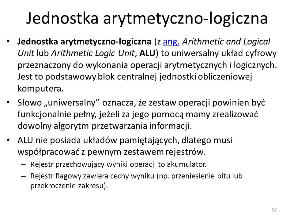 Jednostka arytmetyczno-logiczna Jednostka arytmetyczno-logiczna (z ang. Arithmetic and Logical Unit lub Arithmetic Logic Unit, ALU) to uniwersalny ukł