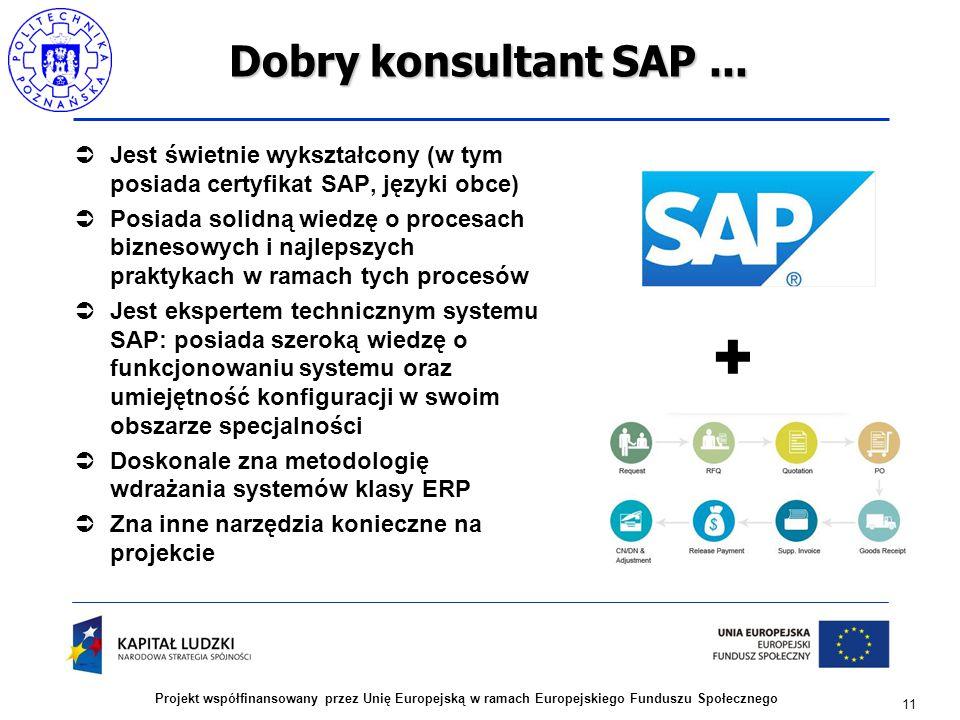 11 Projekt współfinansowany przez Unię Europejską w ramach Europejskiego Funduszu Społecznego Dobry konsultant SAP...  Jest świetnie wykształcony (w