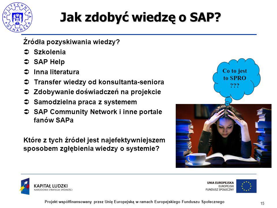 15 Projekt współfinansowany przez Unię Europejską w ramach Europejskiego Funduszu Społecznego Jak zdobyć wiedzę o SAP? Źródła pozyskiwania wiedzy?  S