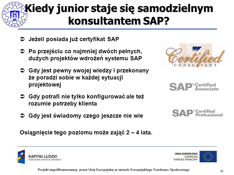 16 Projekt współfinansowany przez Unię Europejską w ramach Europejskiego Funduszu Społecznego Kiedy junior staje się samodzielnym konsultantem SAP? 