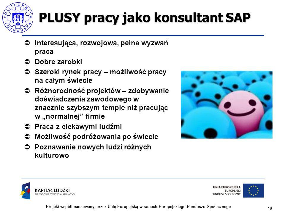 """18 Projekt współfinansowany przez Unię Europejską w ramach Europejskiego Funduszu Społecznego PLUSY pracy jako konsultant SAP  Interesująca, rozwojowa, pełna wyzwań praca  Dobre zarobki  Szeroki rynek pracy – możliwość pracy na całym świecie  Różnorodność projektów – zdobywanie doświadczenia zawodowego w znacznie szybszym tempie niż pracując w """"normalnej firmie  Praca z ciekawymi ludźmi  Możliwość podróżowania po świecie  Poznawanie nowych ludzi różnych kulturowo"""