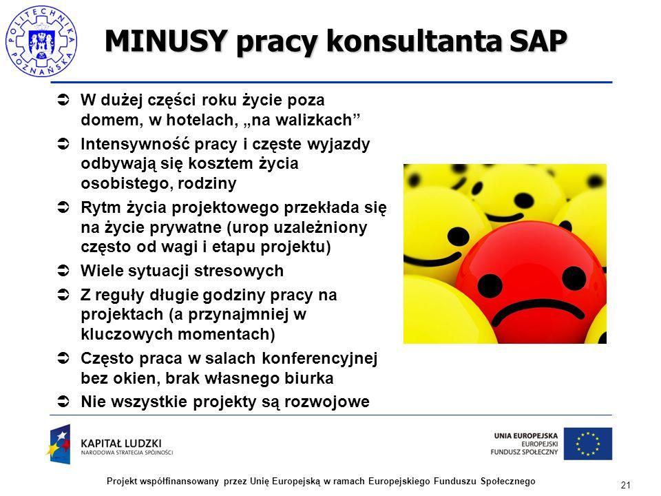 21 Projekt współfinansowany przez Unię Europejską w ramach Europejskiego Funduszu Społecznego MINUSY pracy konsultanta SAP  W dużej części roku życie