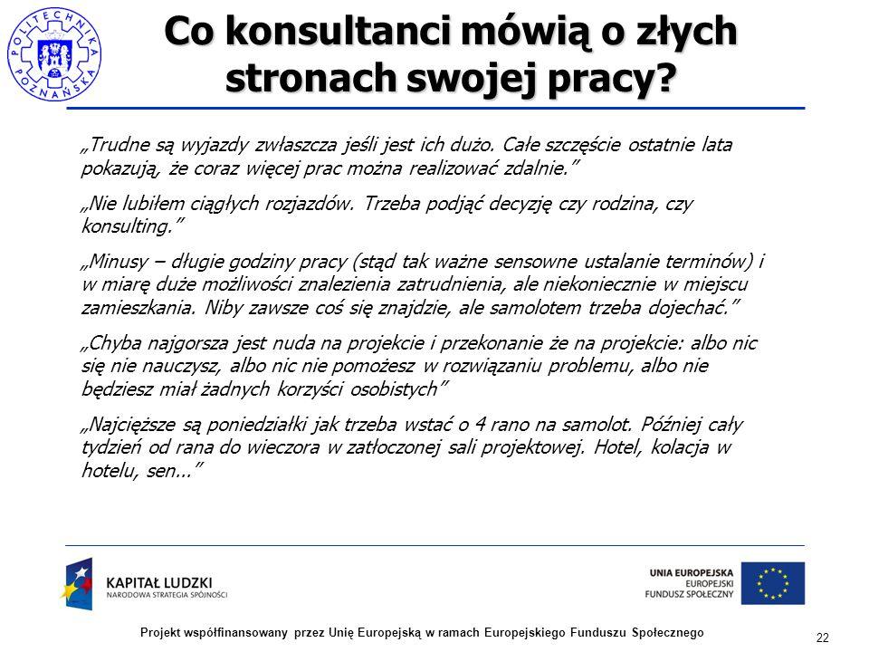 22 Projekt współfinansowany przez Unię Europejską w ramach Europejskiego Funduszu Społecznego Co konsultanci mówią o złych stronach swojej pracy.