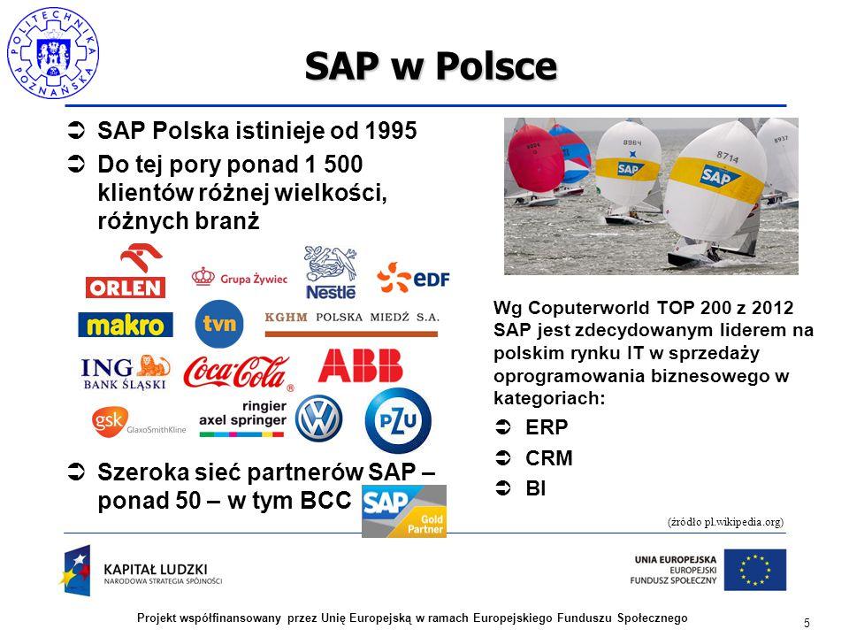 5 Projekt współfinansowany przez Unię Europejską w ramach Europejskiego Funduszu Społecznego SAP w Polsce  SAP Polska istinieje od 1995  Do tej pory