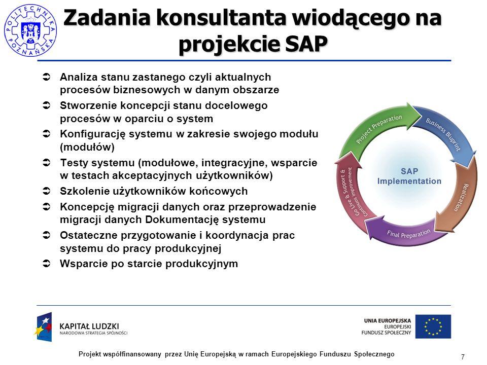 Zadania konsultanta wiodącego na projekcie SAP  Analiza stanu zastanego czyli aktualnych procesów biznesowych w danym obszarze  Stworzenie koncepcji stanu docelowego procesów w oparciu o system  Konfigurację systemu w zakresie swojego modułu (modułów)  Testy systemu (modułowe, integracyjne, wsparcie w testach akceptacyjnych użytkowników)  Szkolenie użytkowników końcowych  Koncepcję migracji danych oraz przeprowadzenie migracji danych Dokumentację systemu  Ostateczne przygotowanie i koordynacja prac systemu do pracy produkcyjnej  Wsparcie po starcie produkcyjnym 7 Projekt współfinansowany przez Unię Europejską w ramach Europejskiego Funduszu Społecznego
