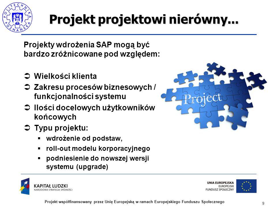 Projekt projektowi nierówny... Projekty wdrożenia SAP mogą być bardzo zróżnicowane pod względem:  Wielkości klienta  Zakresu procesów biznesowych /