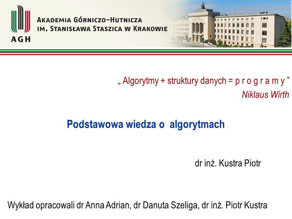 "dr inż. Kustra Piotr "" Algorytmy + struktury danych = p r o g r a m y "" Niklaus Wirth Podstawowa wiedza o algorytmach Wykład opracowali dr Anna Adrian"