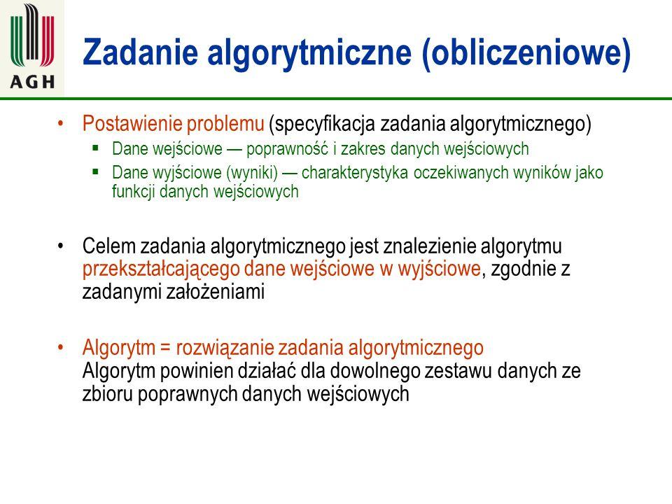 Zadanie algorytmiczne (obliczeniowe) Postawienie problemu (specyfikacja zadania algorytmicznego)  Dane wejściowe — poprawność i zakres danych wejścio