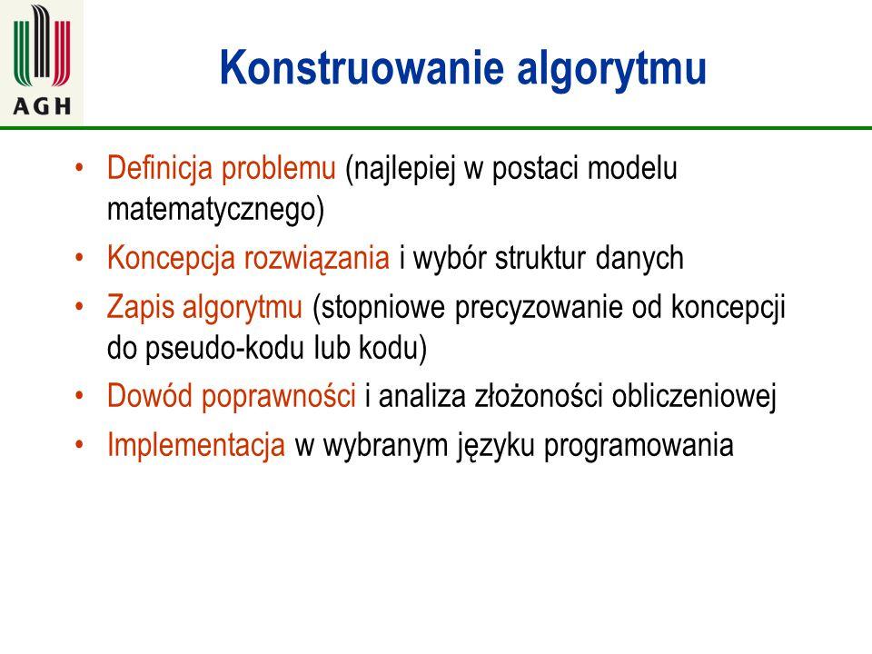 Konstruowanie algorytmu Definicja problemu (najlepiej w postaci modelu matematycznego) Koncepcja rozwiązania i wybór struktur danych Zapis algorytmu (