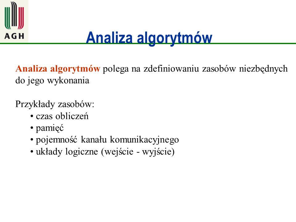 Analiza algorytmów Analiza algorytmów polega na zdefiniowaniu zasobów niezbędnych do jego wykonania Przykłady zasobów: czas obliczeń pamięć pojemność