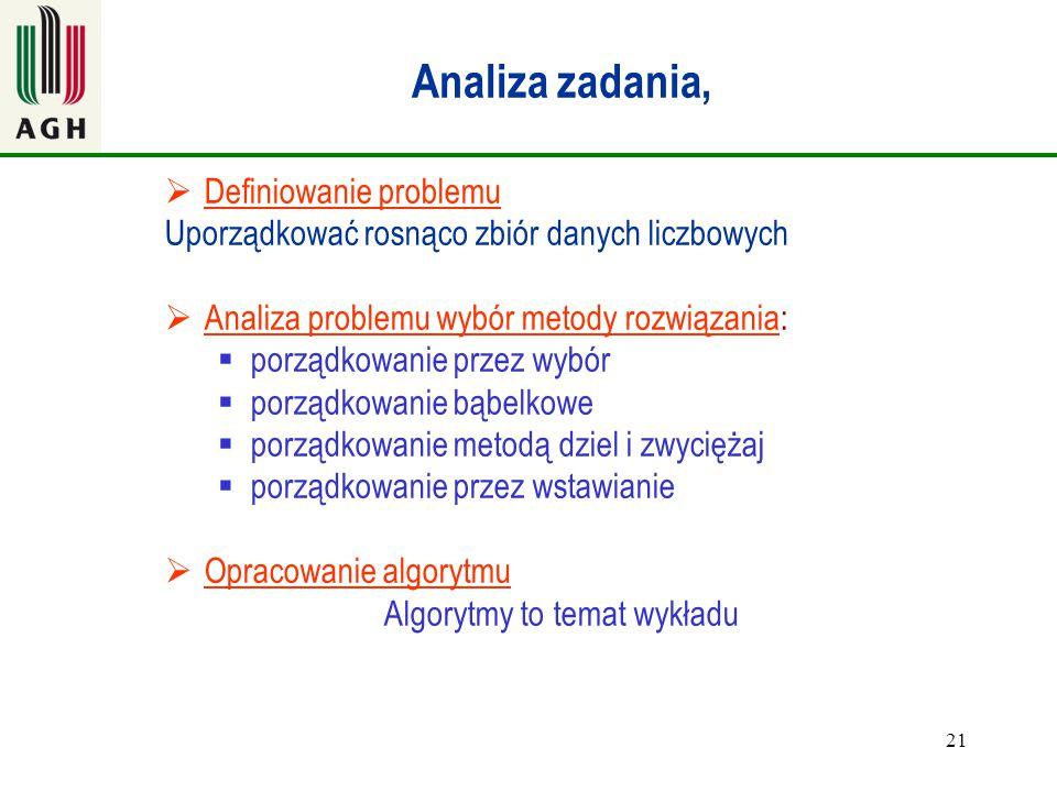 21 Analiza zadania,  Definiowanie problemu Uporządkować rosnąco zbiór danych liczbowych  Analiza problemu wybór metody rozwiązania:  porządkowanie
