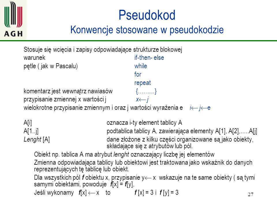 27 Pseudokod Konwencje stosowane w pseudokodzie Stosuje się wcięcia i zapisy odpowiadające strukturze blokowej warunek if-then- else pętle ( jak w Pas