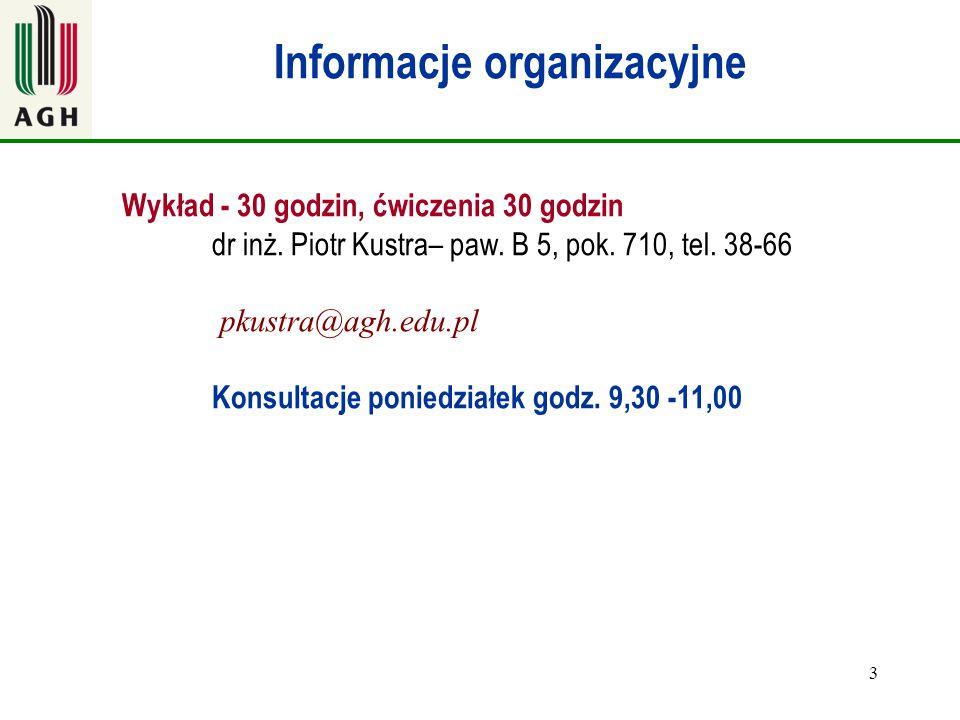 3 Informacje organizacyjne Wykład - 30 godzin, ćwiczenia 30 godzin dr inż. Piotr Kustra– paw. B 5, pok. 710, tel. 38-66 pkustra@agh.edu.pl Konsultacje