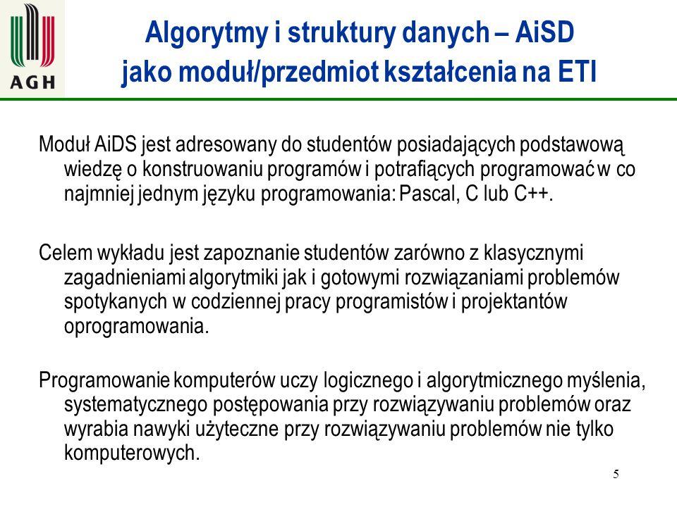 5 Algorytmy i struktury danych – AiSD jako moduł/przedmiot kształcenia na ETI Moduł AiDS jest adresowany do studentów posiadających podstawową wiedzę