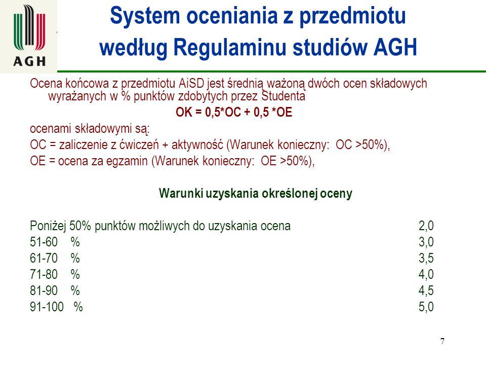 7 System oceniania z przedmiotu według Regulaminu studiów AGH Ocena końcowa z przedmiotu AiSD jest średnią ważoną dwóch ocen składowych wyrażanych w %