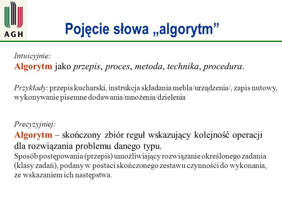 """Pojęcie słowa """"algorytm"""" Intuicyjnie: Algorytm jako przepis, proces, metoda, technika, procedura. Przykłady: przepis kucharski, instrukcja składania m"""