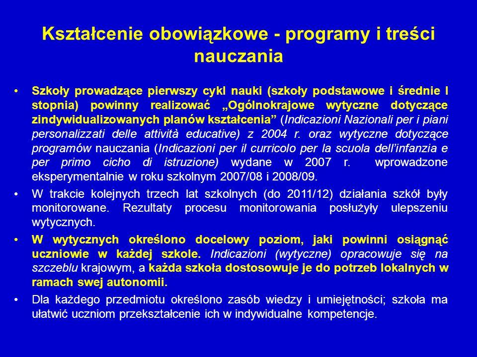 Kształcenie obowiązkowe - programy i treści nauczania Szkoły prowadzące pierwszy cykl nauki (szkoły podstawowe i średnie I stopnia) powinny realizować