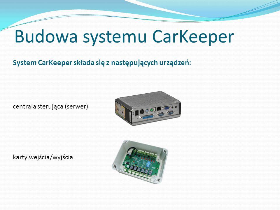 Budowa systemu CarKeeper System CarKeeper składa się z następujących urządzeń: centrala sterująca (serwer) karty wejścia/wyjścia