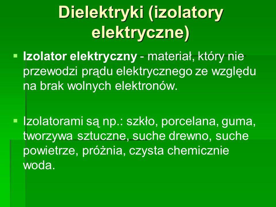 Dielektryki (izolatory elektryczne)   Izolator elektryczny - materiał, który nie przewodzi prądu elektrycznego ze względu na brak wolnych elektronów.