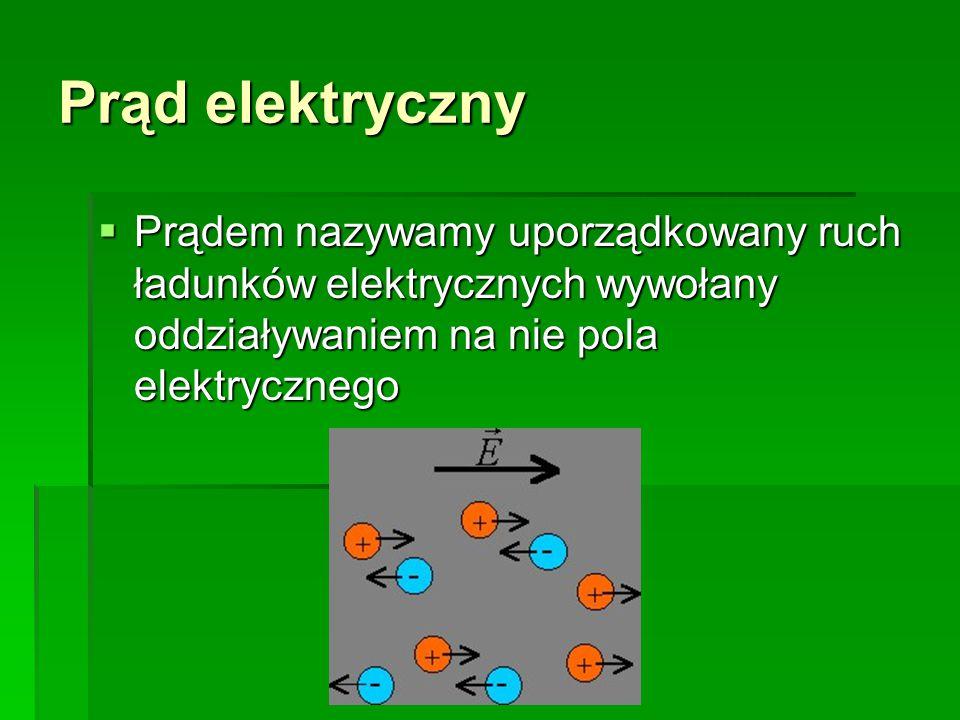 Prąd elektryczny  Prądem nazywamy uporządkowany ruch ładunków elektrycznych wywołany oddziaływaniem na nie pola elektrycznego