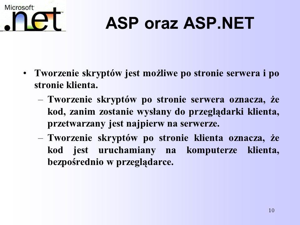 10 ASP oraz ASP.NET Tworzenie skryptów jest możliwe po stronie serwera i po stronie klienta. –Tworzenie skryptów po stronie serwera oznacza, że kod, z
