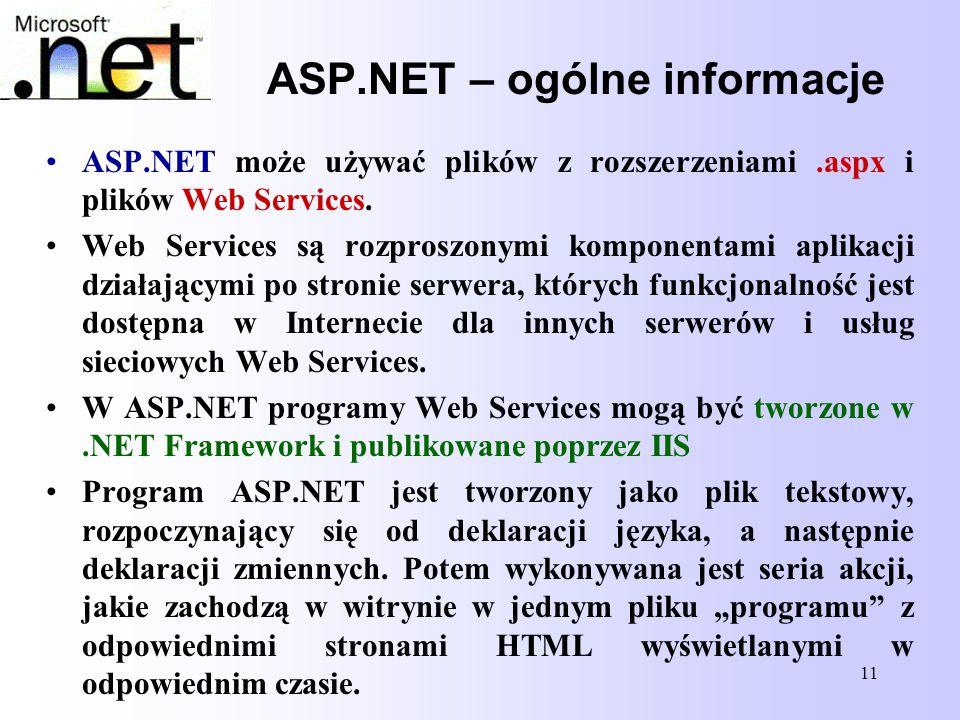 11 ASP.NET – ogólne informacje ASP.NET może używać plików z rozszerzeniami.aspx i plików Web Services. Web Services są rozproszonymi komponentami apli