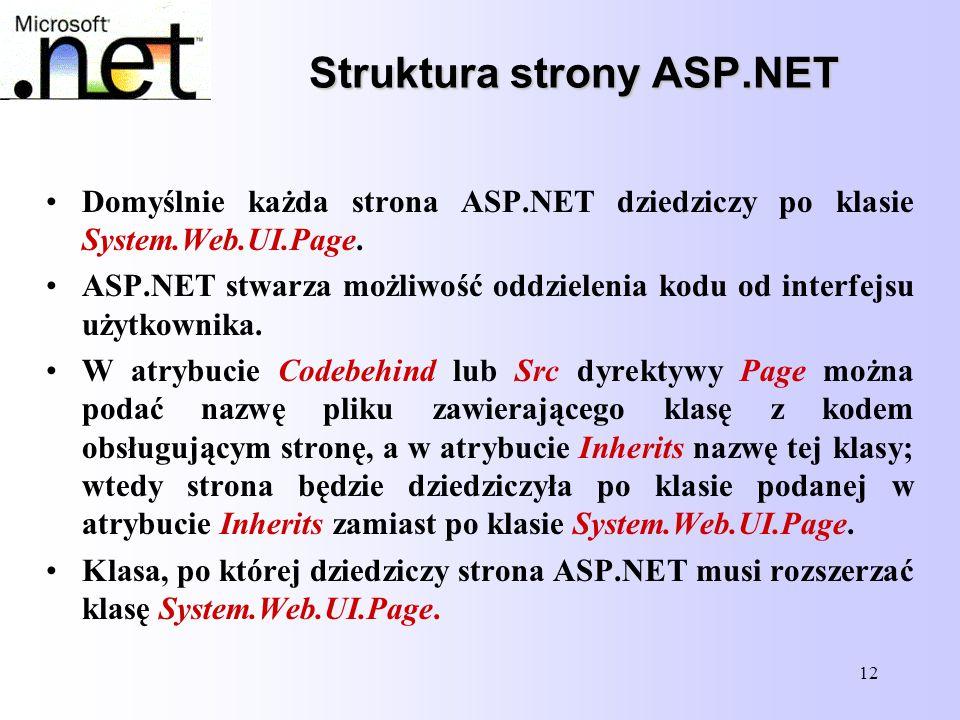 12 Struktura strony ASP.NET Struktura strony ASP.NET Domyślnie każda strona ASP.NET dziedziczy po klasie System.Web.UI.Page. ASP.NET stwarza możliwość