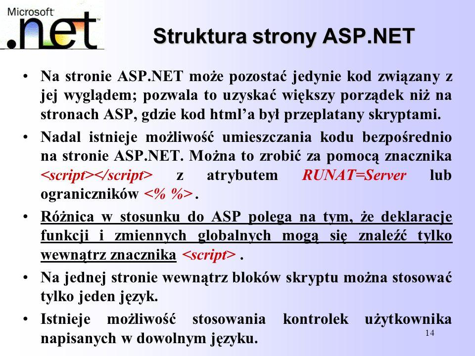 14 Struktura strony ASP.NET Struktura strony ASP.NET Na stronie ASP.NET może pozostać jedynie kod związany z jej wyglądem; pozwala to uzyskać większy