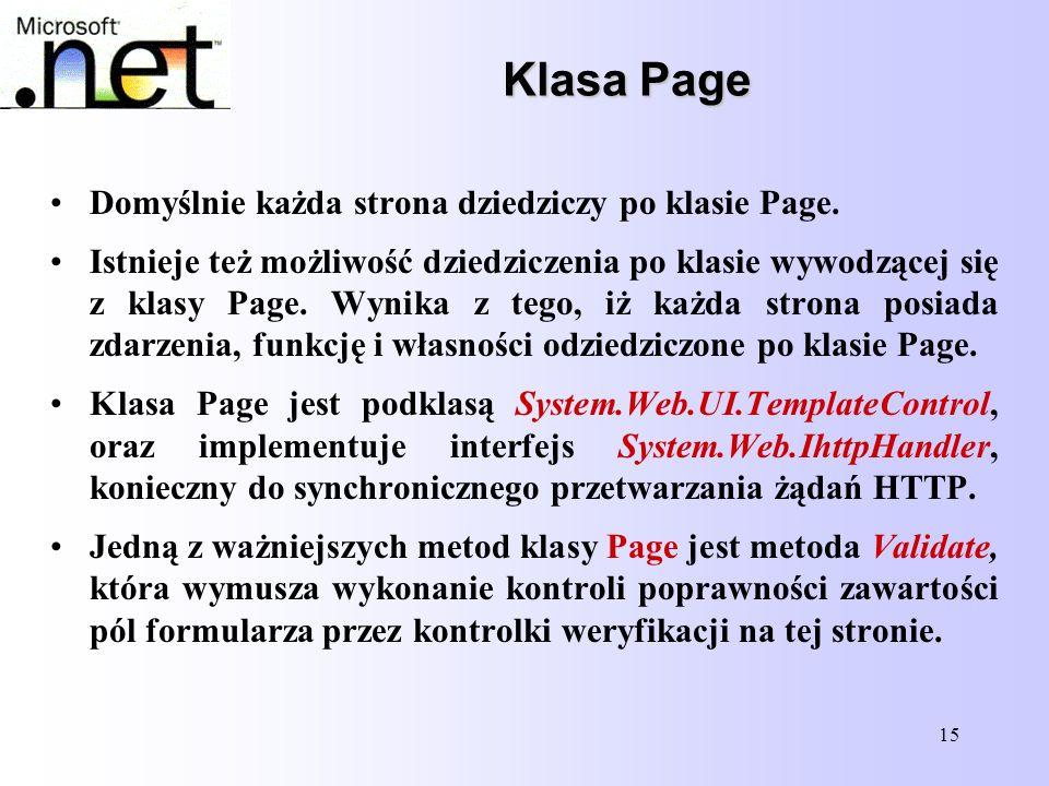 15 Klasa Page Klasa Page Domyślnie każda strona dziedziczy po klasie Page. Istnieje też możliwość dziedziczenia po klasie wywodzącej się z klasy Page.